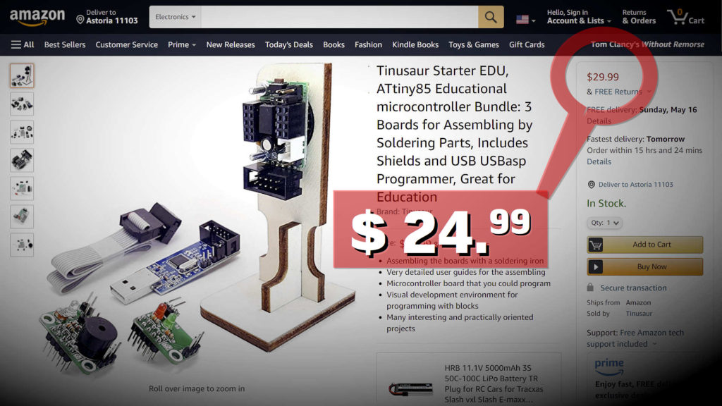 Tinusaur products available on Amazon USA